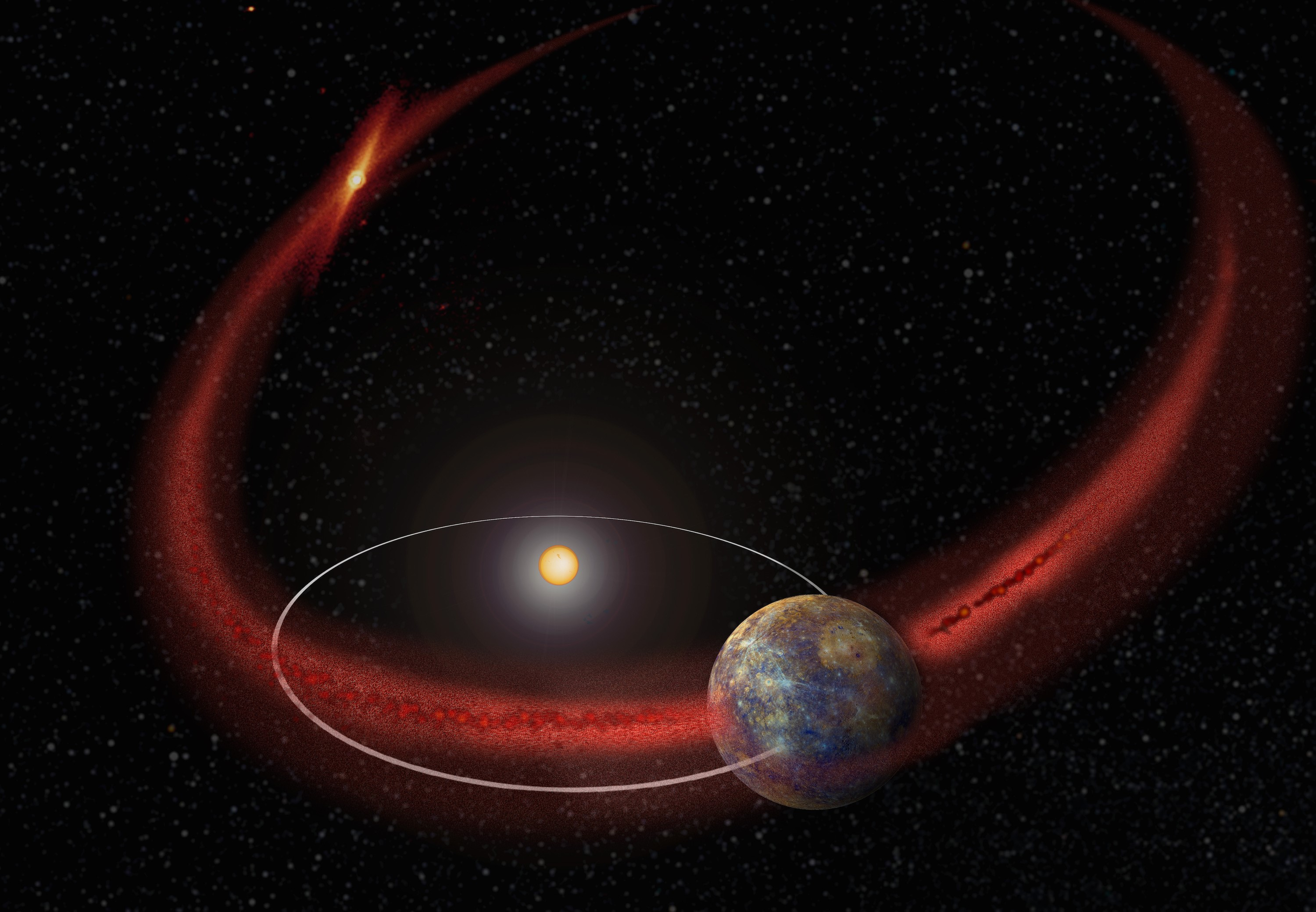 Meteor Showers on Mercury/ A stream of particles interact ...
