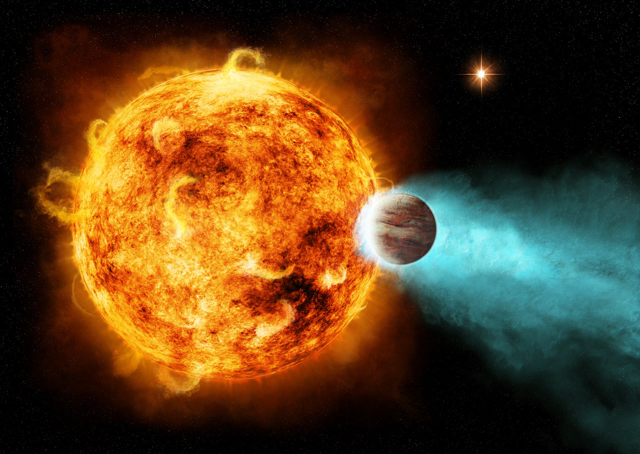 illustration of planet very close to a sun