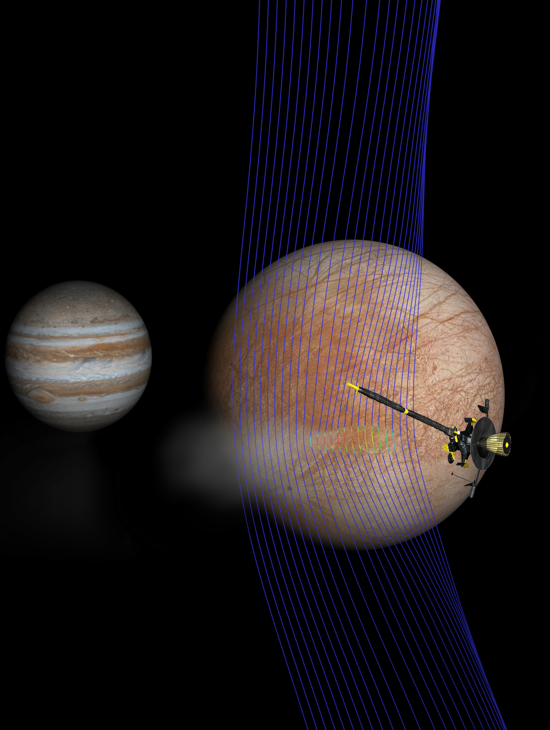 illustration of spacecraft at europa with jupiter in background