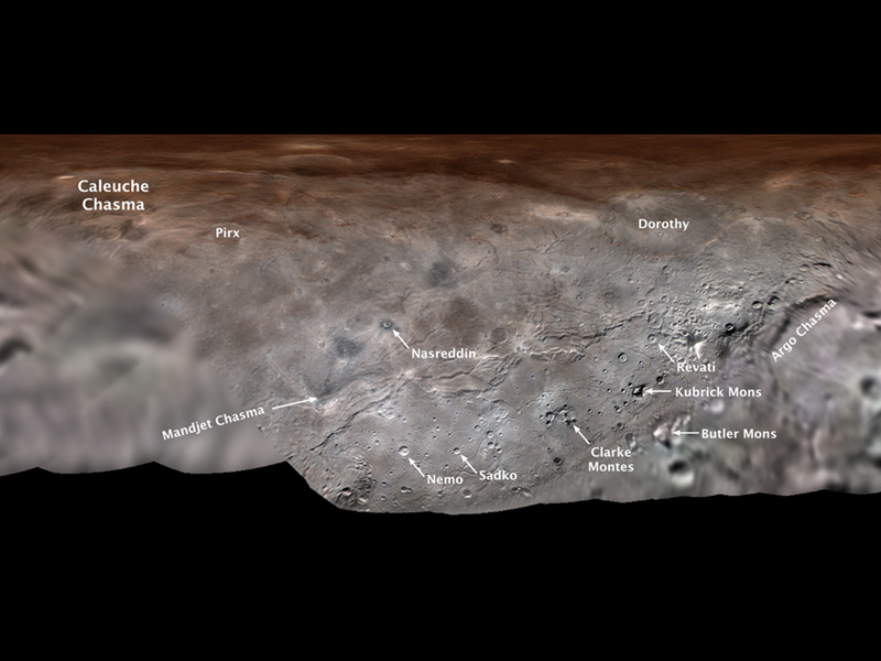 Image of Charon with landscape features labelled