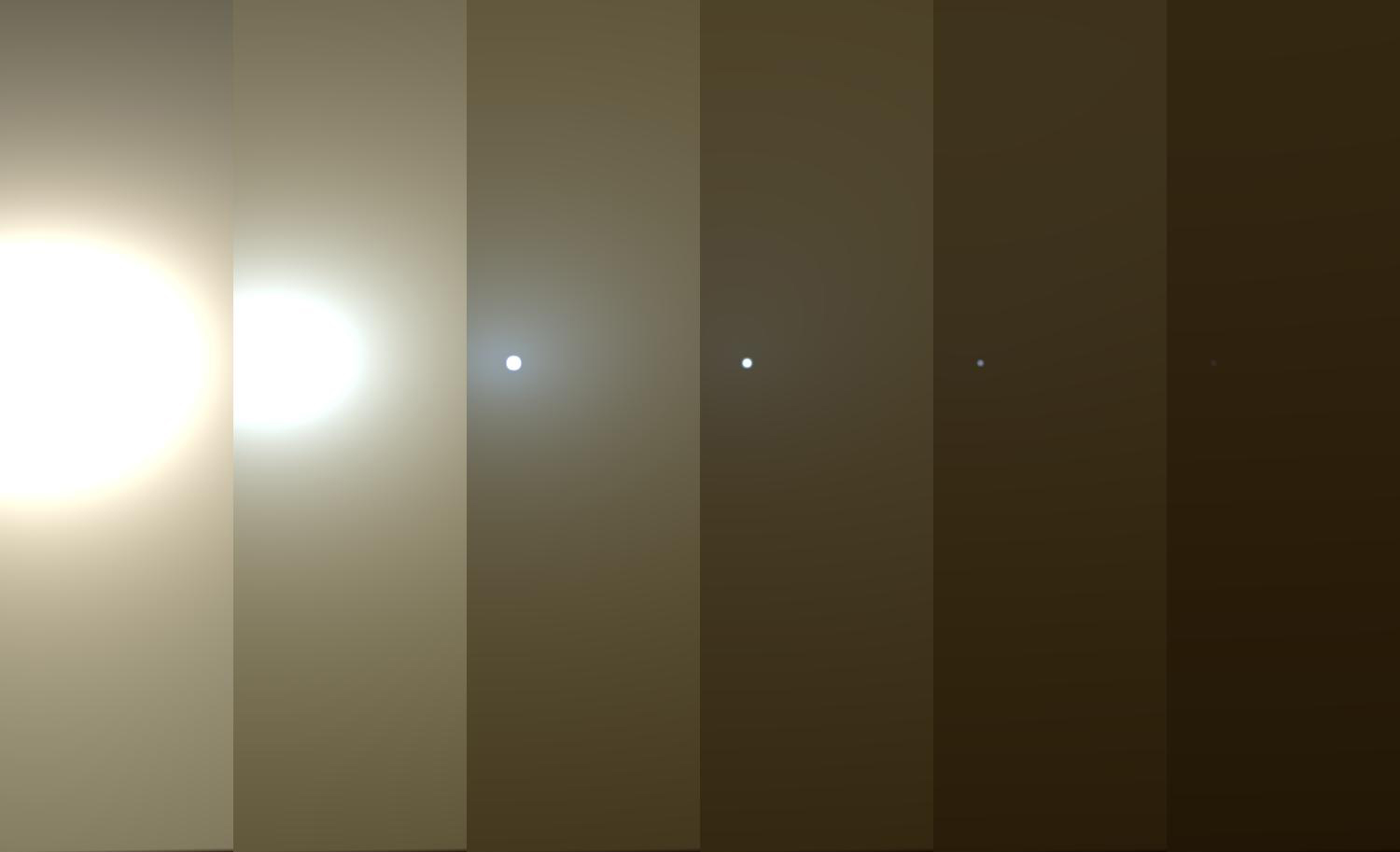 Illustration of decreasing sunlight on Mars.
