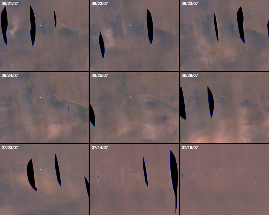 Sequence of images showing increasing dust on Mars.