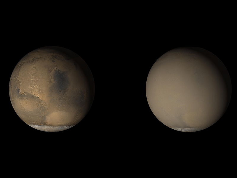 A dust storm envelops Mars in this series of images.