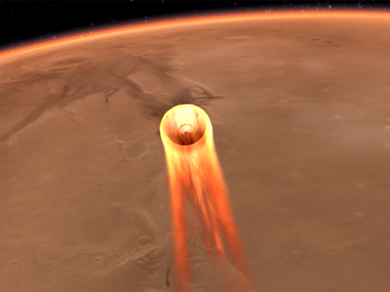 Illustration of spacecraft entering Mars atmosphere.