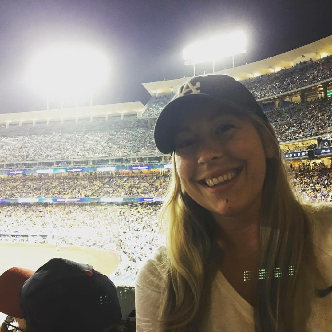 Angela at her first Los Angeles Dodgers game.