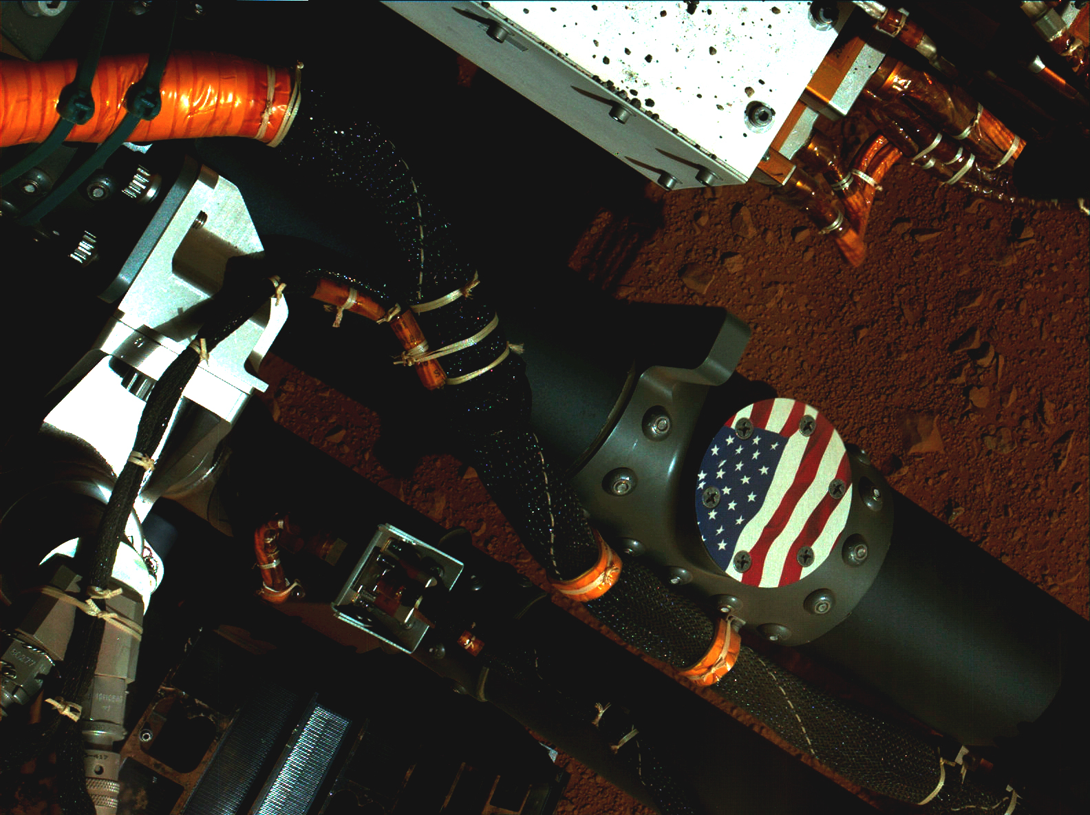 u.s. flag visible on hardware on mars rover