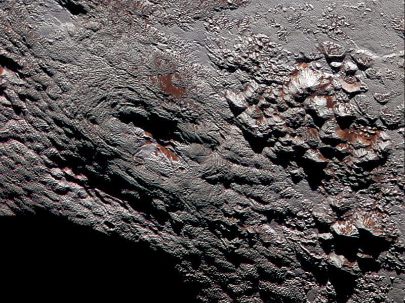 Close up of probable ice volcano on Pluto.