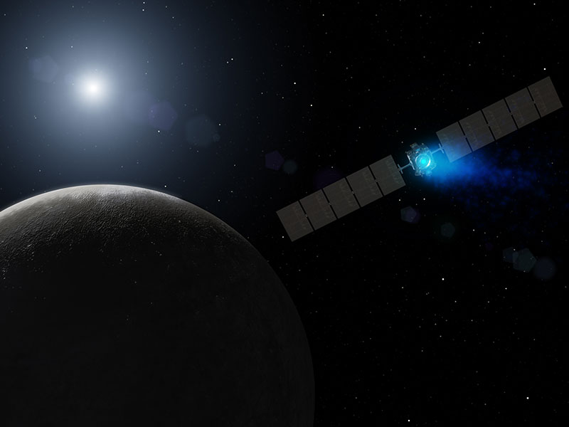 Illustration of Dawn approaching Ceres.