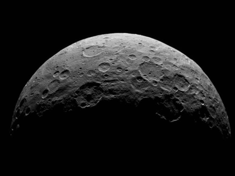 Black and white image of a hemisphere on Ceres.
