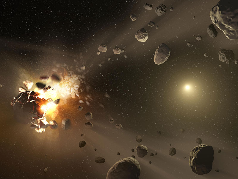 Artist's concept of asteroids colliding.