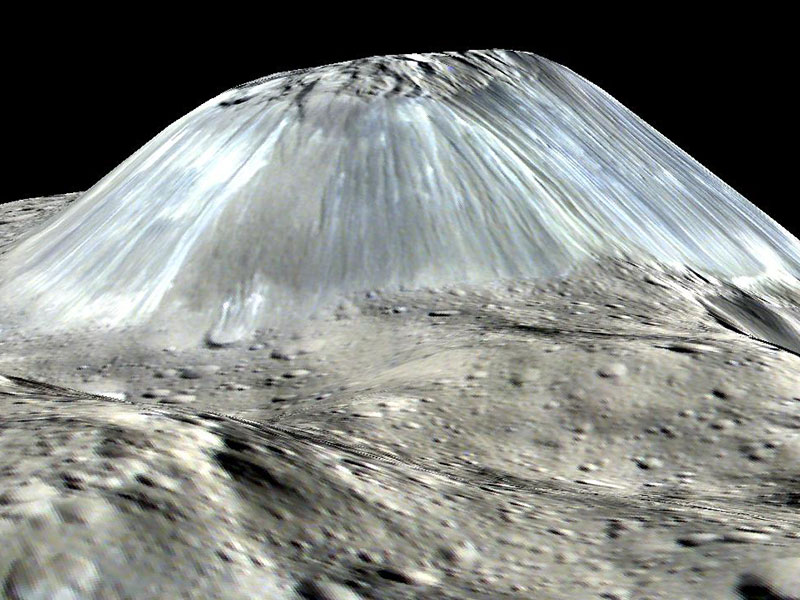 Computer generated view of mountain on Ceres.