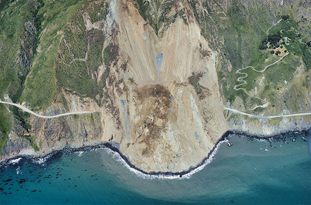 landslide slumping into see seen from above