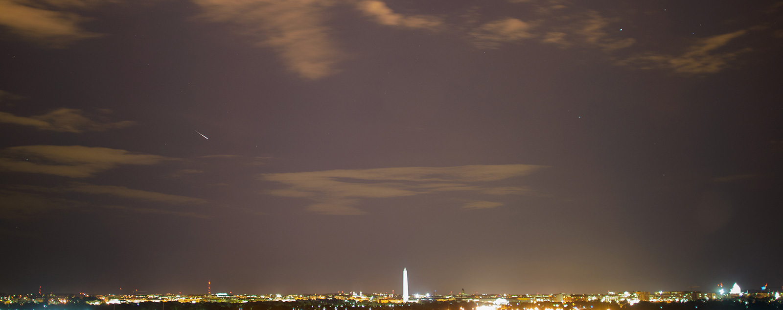Meteor streak over Washington, DC.