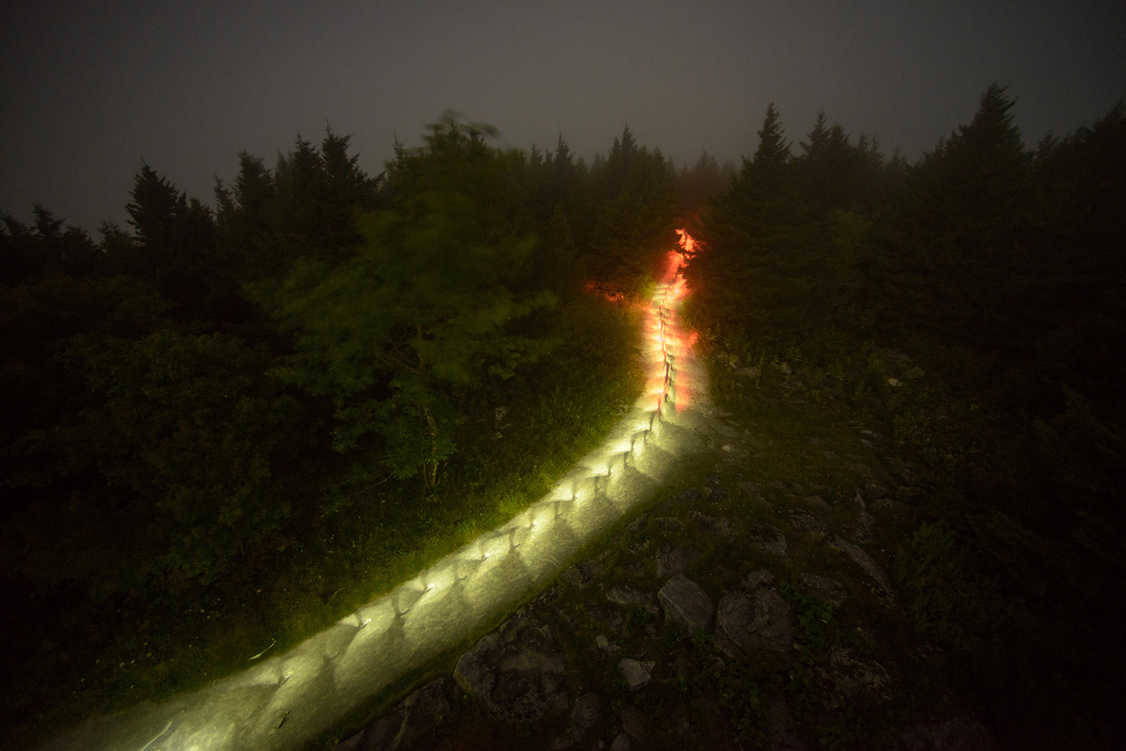 Light trail made by hikers going up a mountain in the dark.