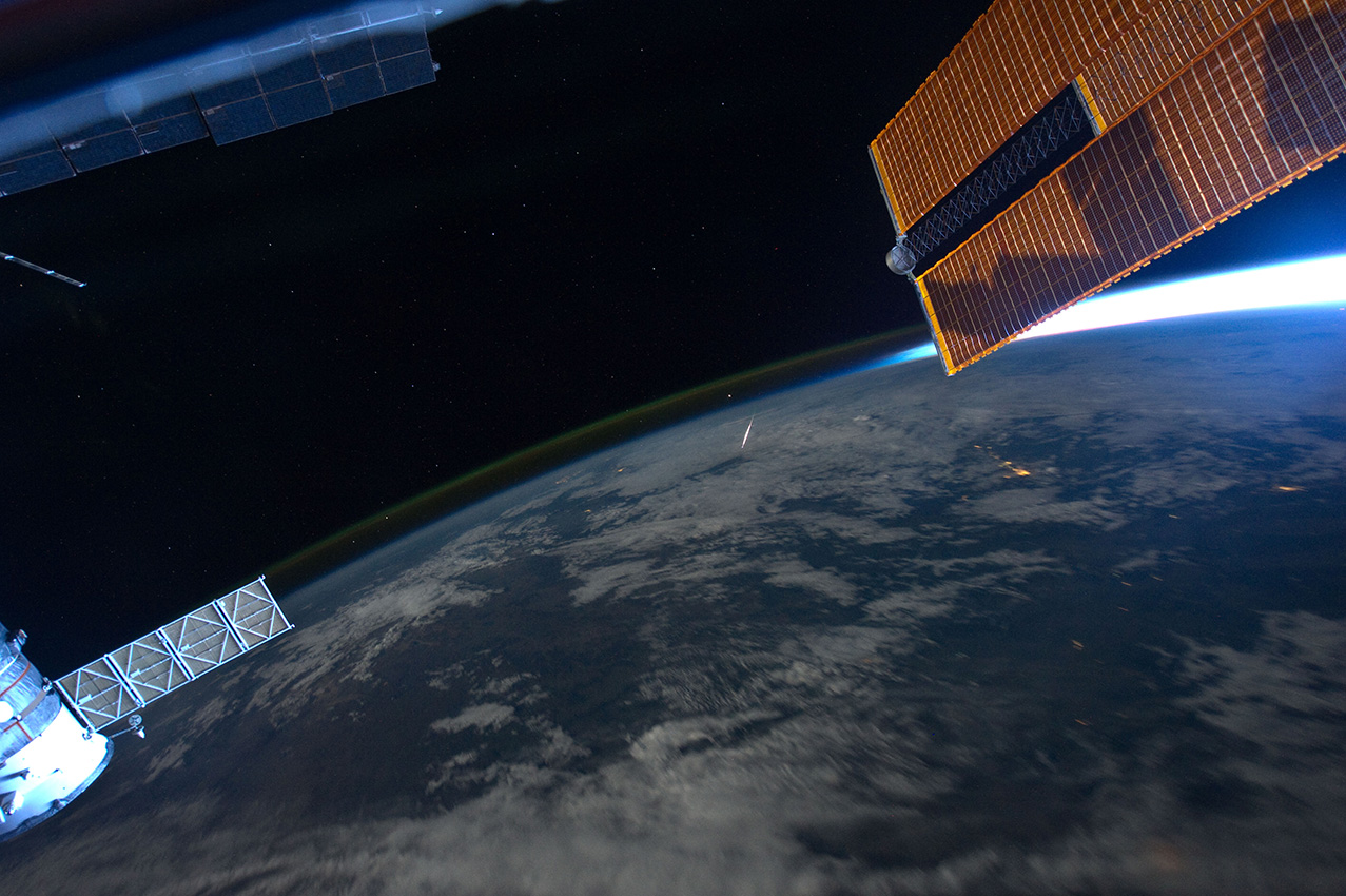 Meteor falling to Earth as seen from the International Space Station.