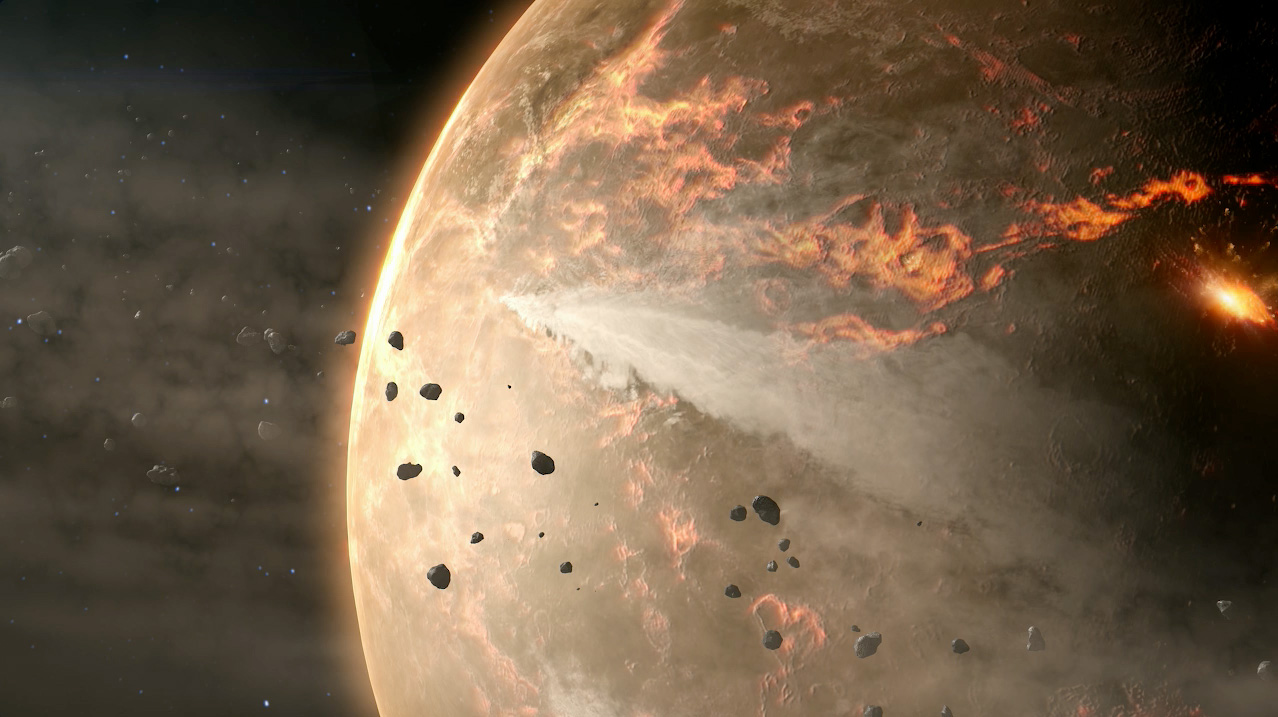 Illustration of asteroids falling on planet