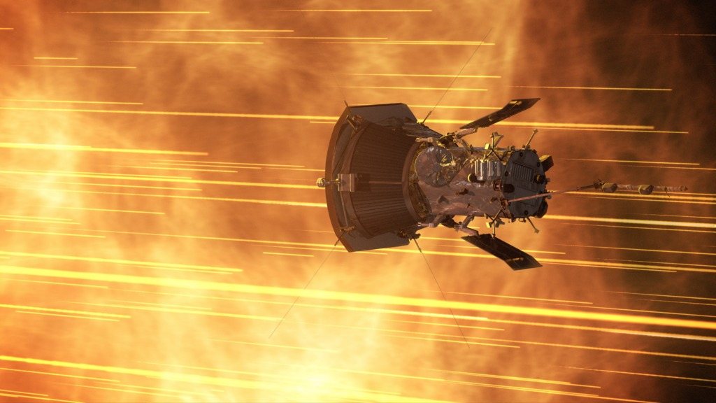 spacecraft surrounded by bright streaks