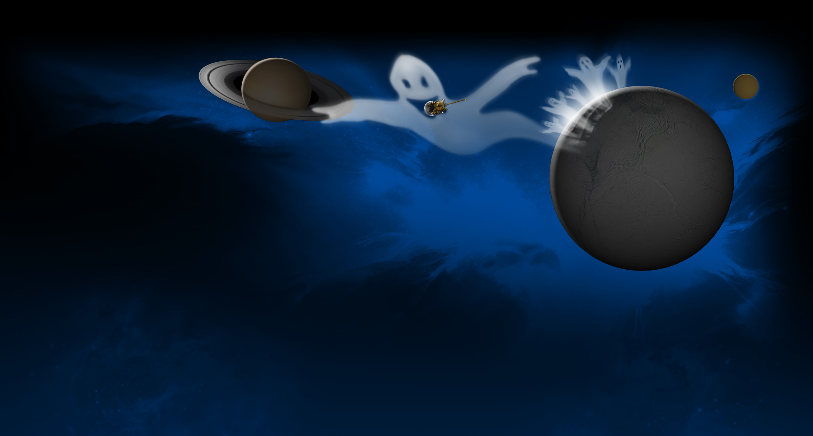 Illustration of ghosts coming out of Enceladus.