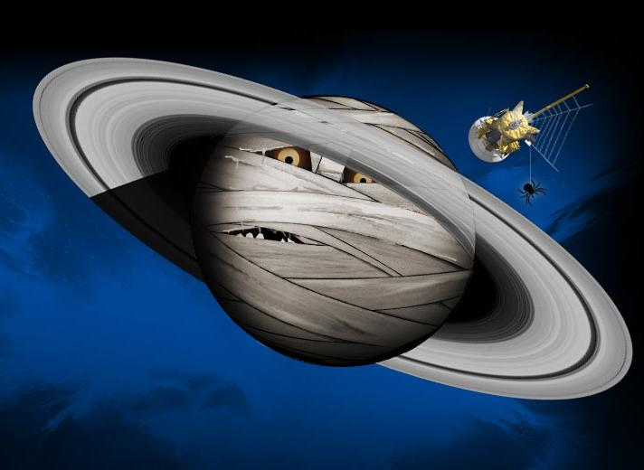 Illustration of Saturn wrapped up like a mummy