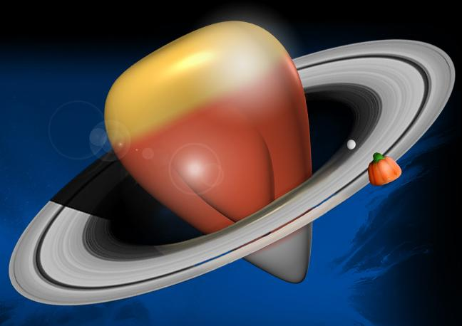 Illustration of Saturn as a candy corn.