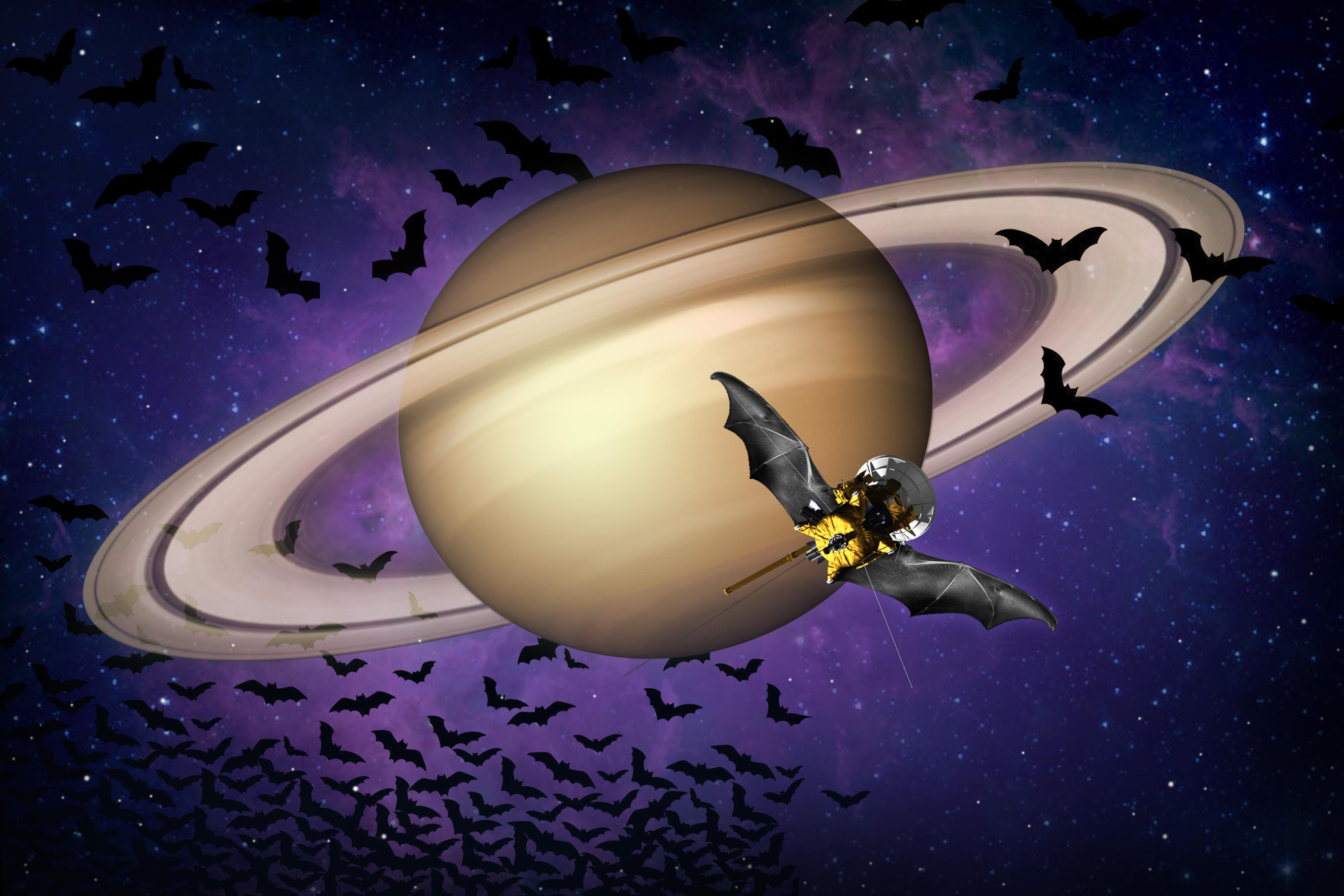 Cassini spacecraft illustrated with bat wings.