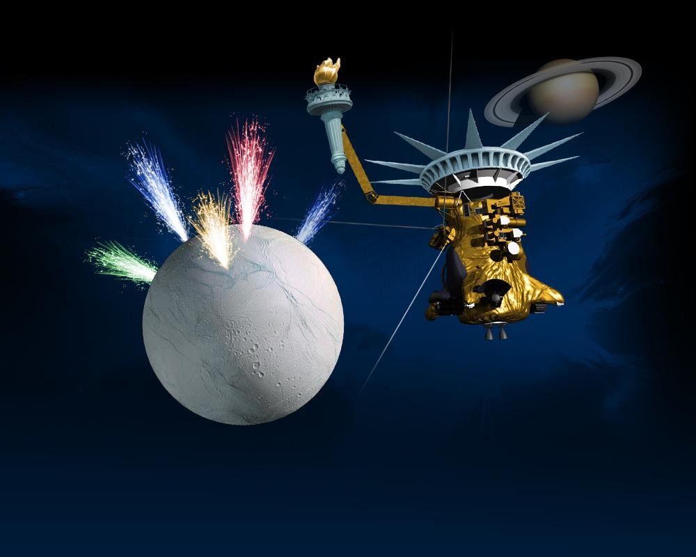 Cassini and Enceladus decorated with Fourth of July artwork.