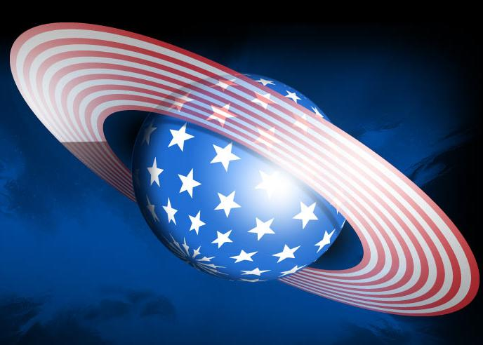 Saturn decorated as an American Flag