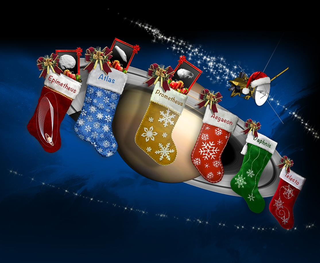 Illustration of Saturn with holiday stockings hanging from its rings.