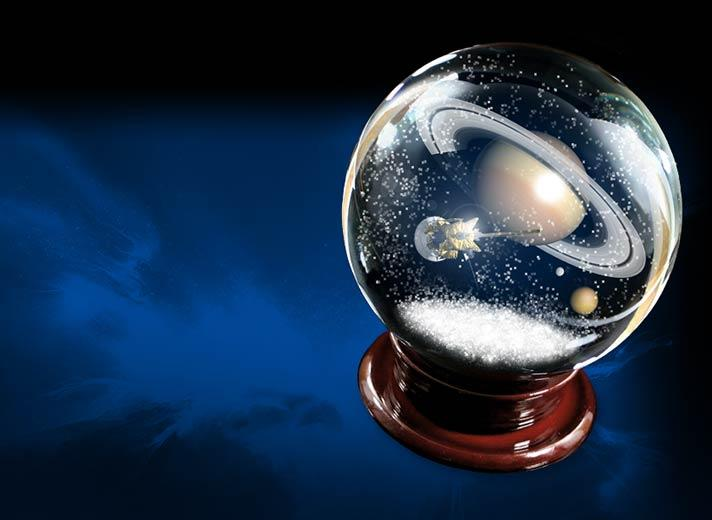 Illustration of Cassini and Saturn in a snowglobe.