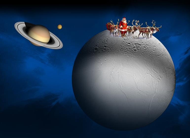 Illustration of Santa and Reindeer on Enceladus.