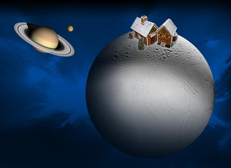 Illustration of gingerbread house on Enceladus.
