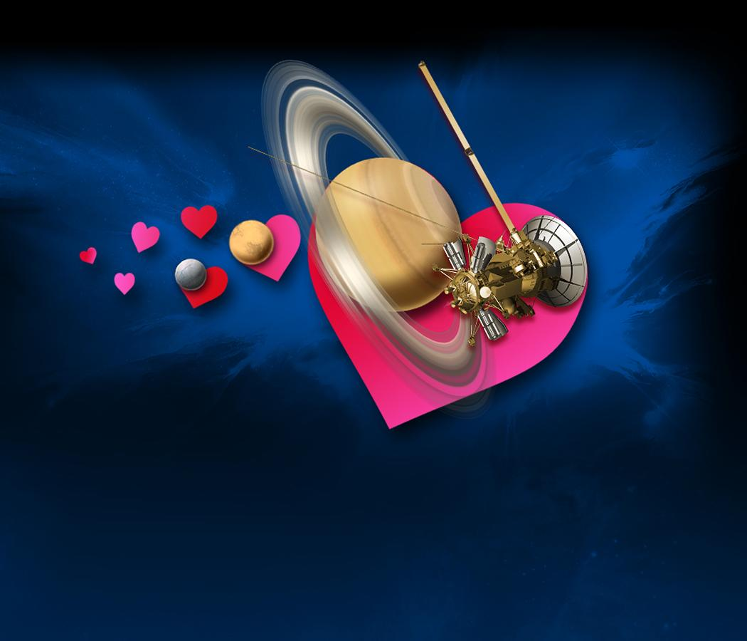 Illustration showing hearts, Saturn, Titan and the Cassini spacecraft.
