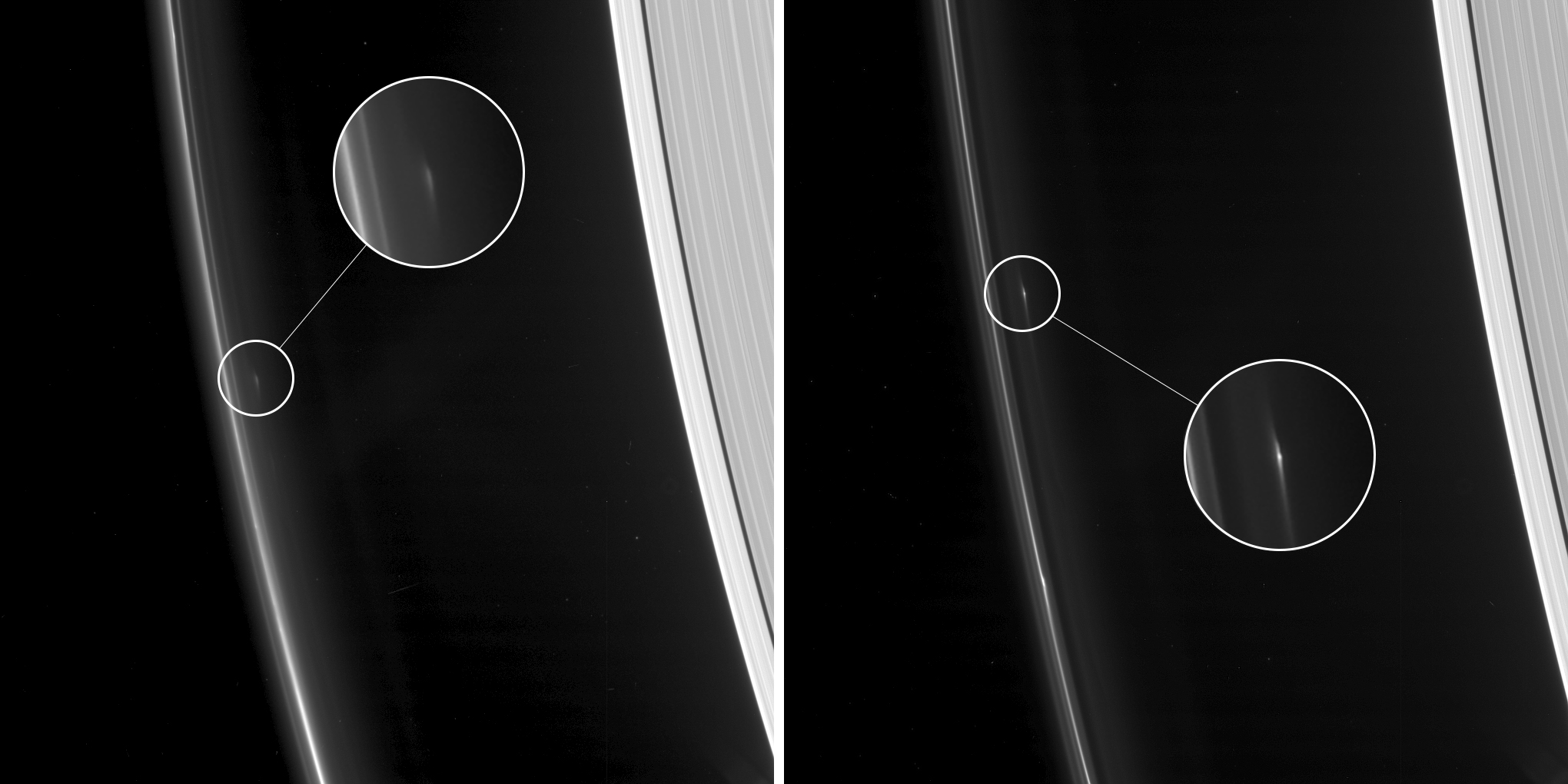 Objects in Saturn's F rings (annotated)