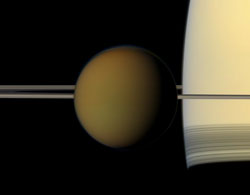 Titan, passes in front of Saturn and its rings
