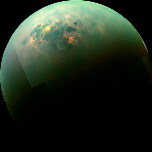 Sun Glinting off of Titan's North Polar Seas