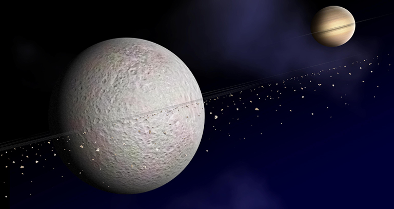 The likelihood of dusty rings around Rhea