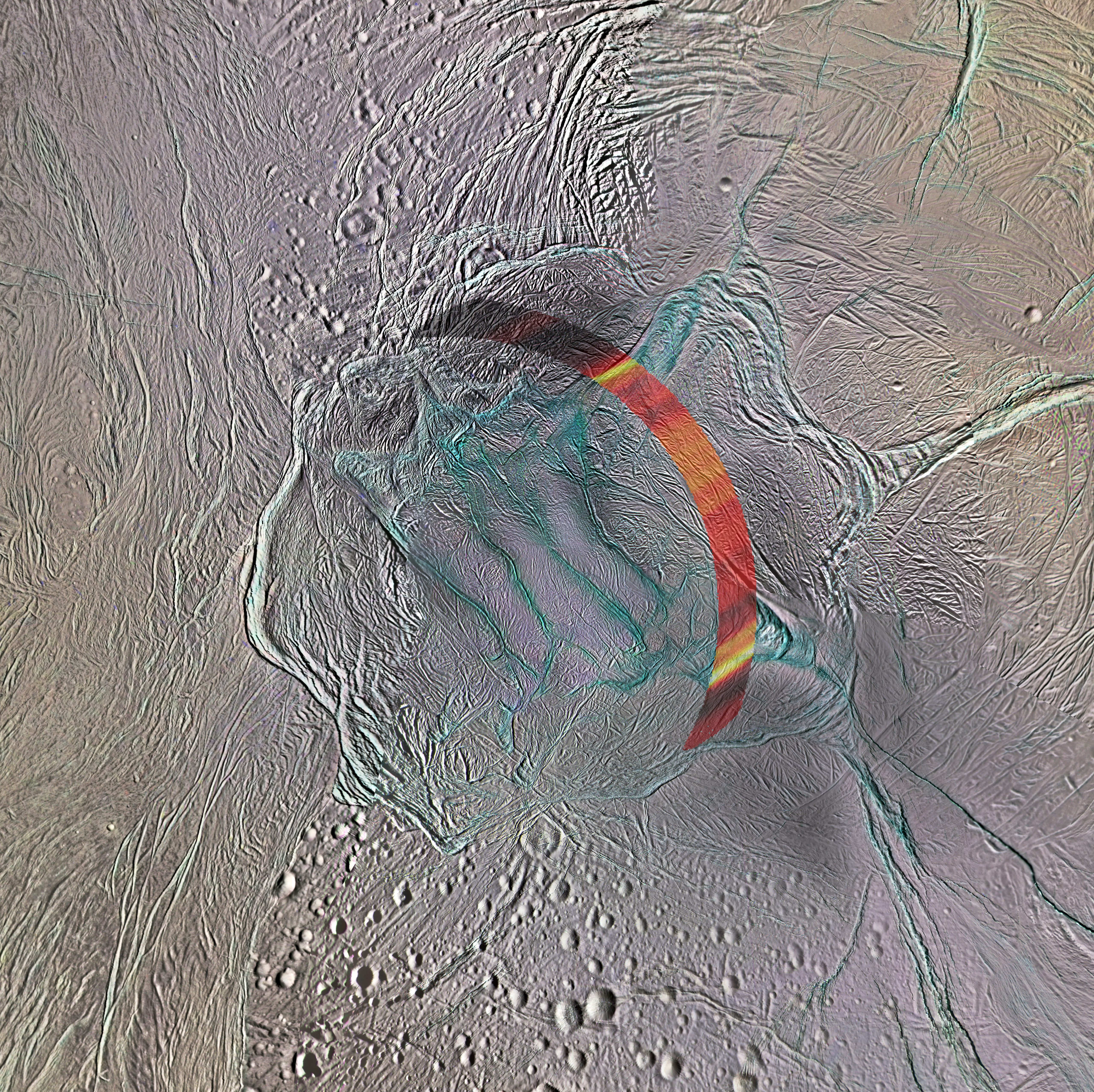 Color image with data overlay showing heat sources on Enceladus.