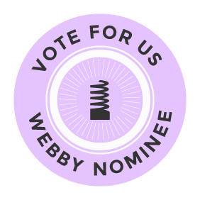 Webby Logo says Vote for Us Webby Nominee