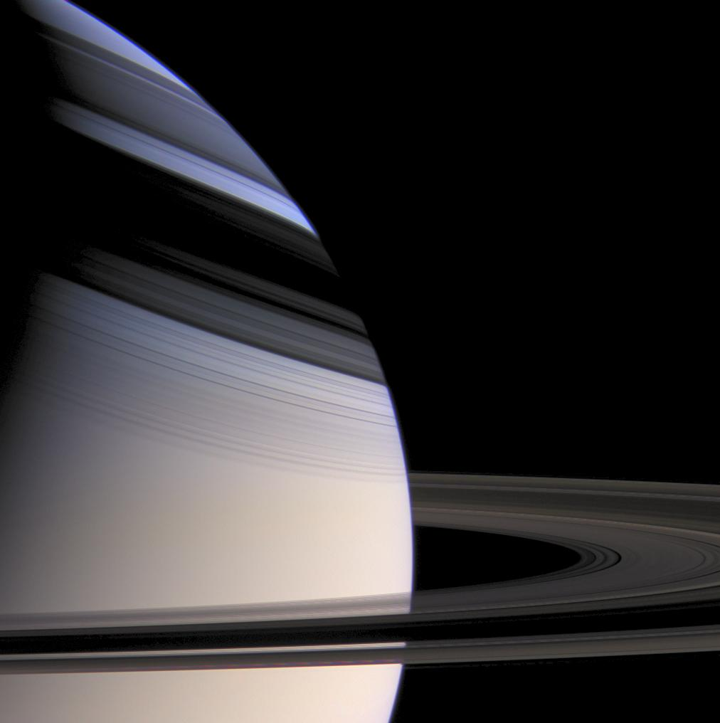 Color image of Saturn and its rings, with ring shadows on the planet.