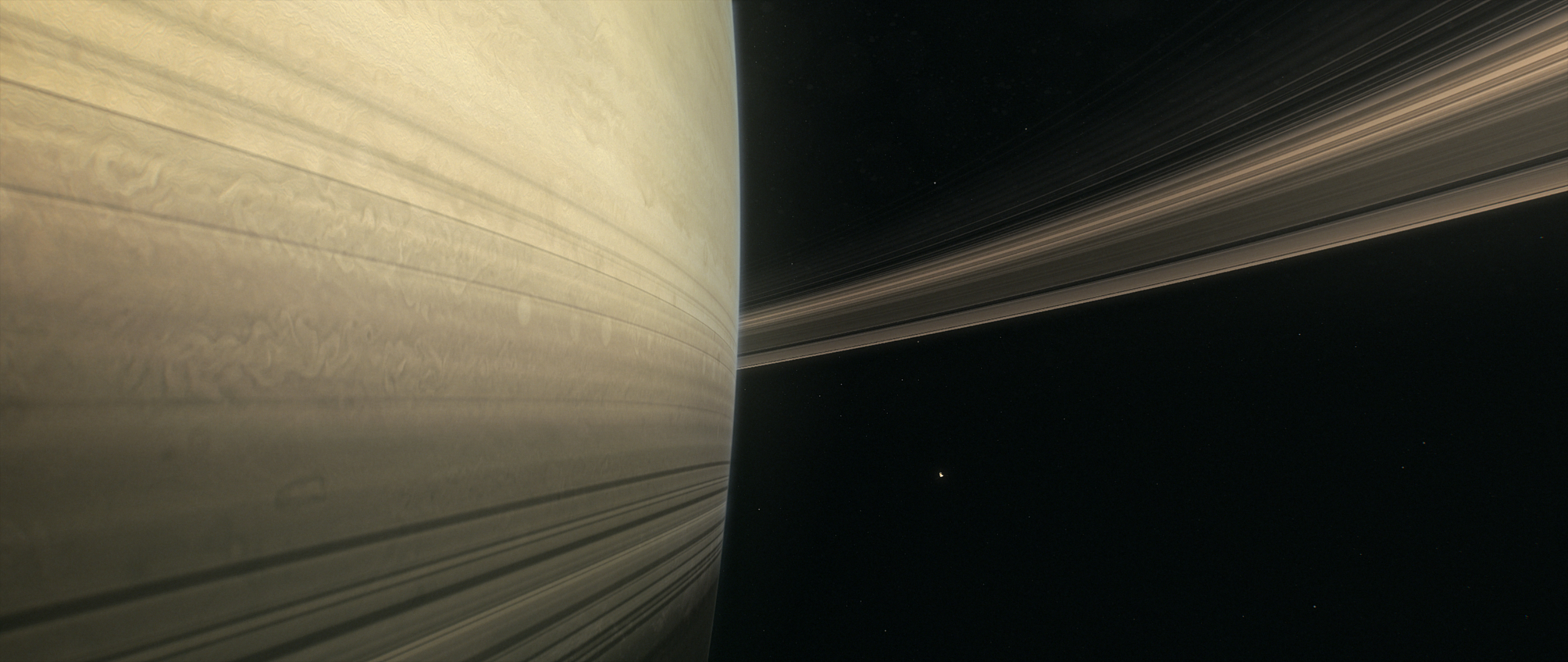 Illustration of the gap between Saturn and its rings.