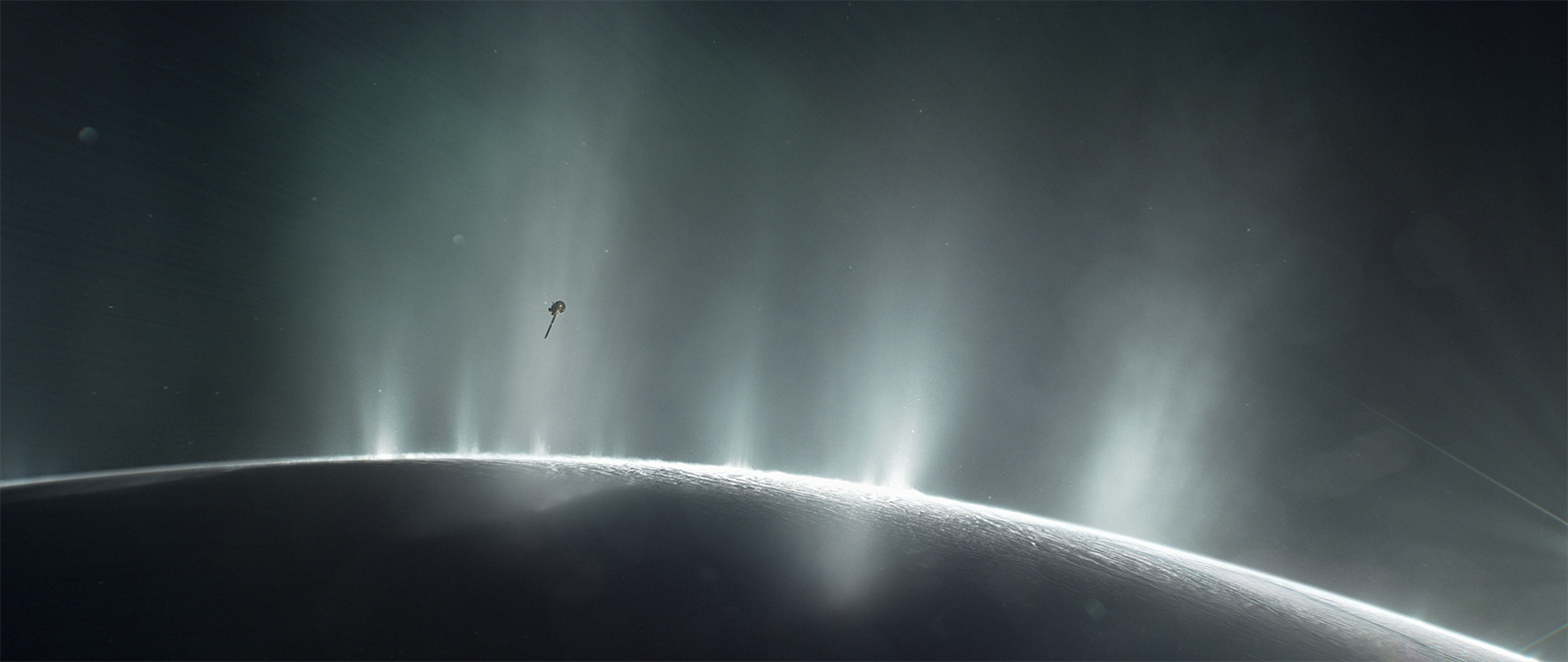 Artist concept of Cassini flying through Enceladus' plumes
