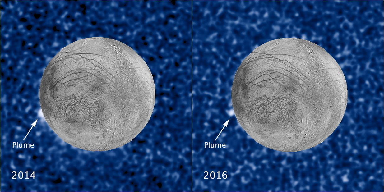 Enhanced image of Europa showing a possible plume.