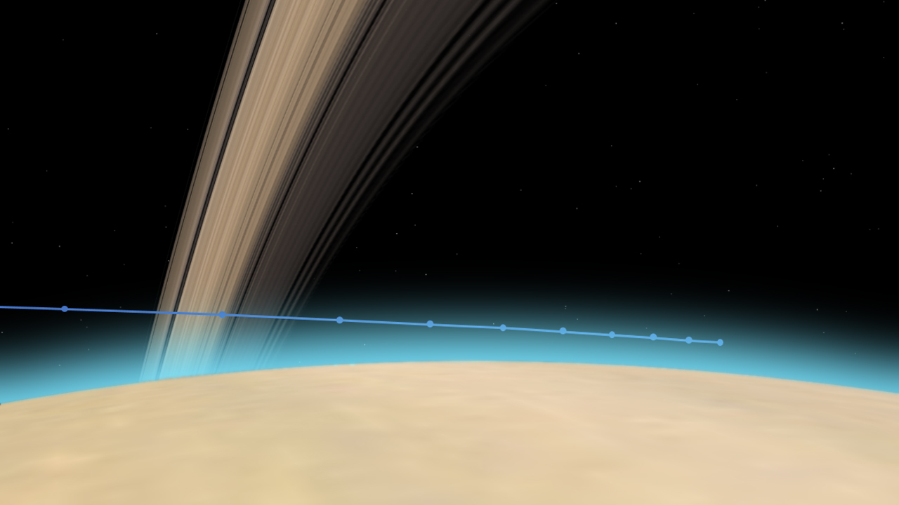 Cassini's path into Saturn's upper atmosphere, with tick marks every 10 seconds