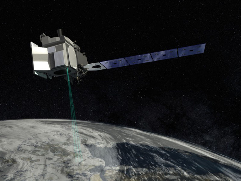 Illustration of ICESAt-2 over Earth.