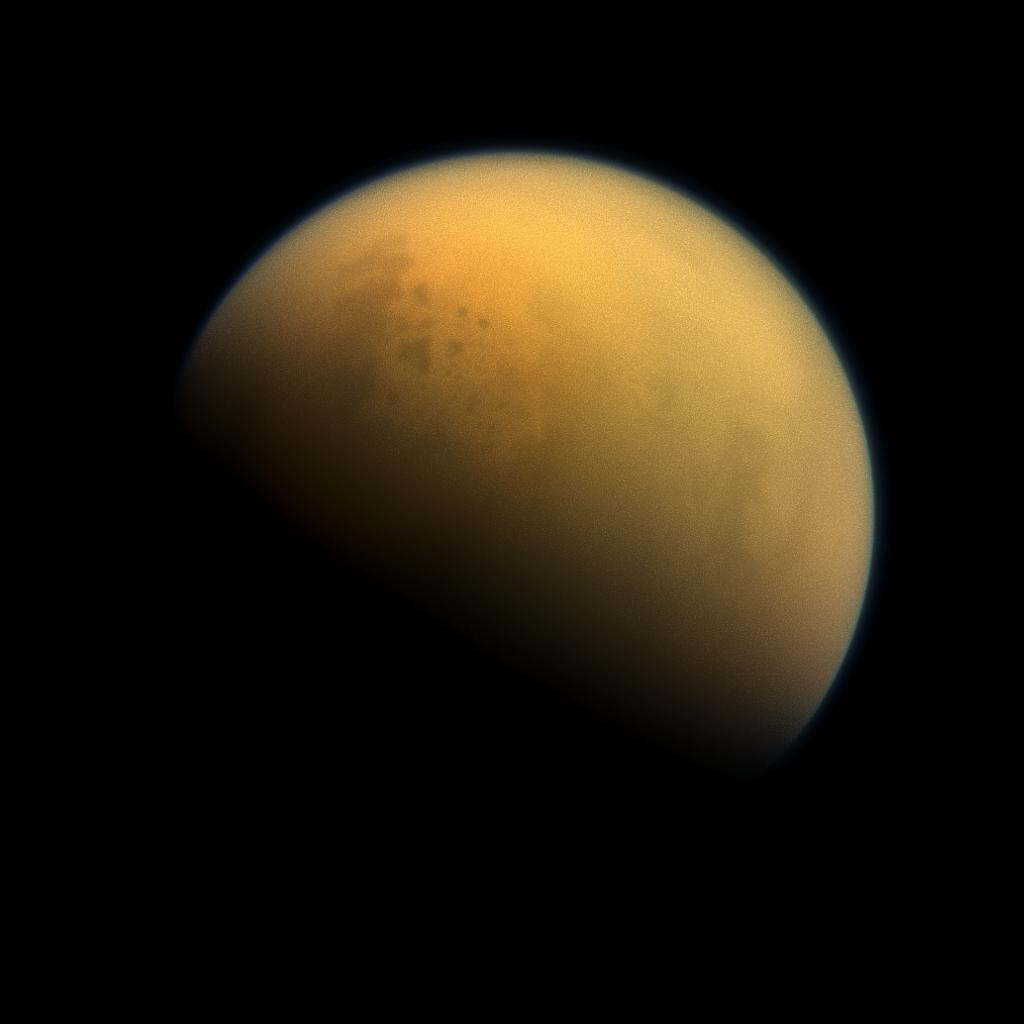 Full disk view of Saturn's hazy moon Titan.