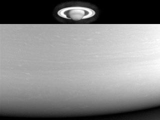 Two views of Saturn, from far away and up close