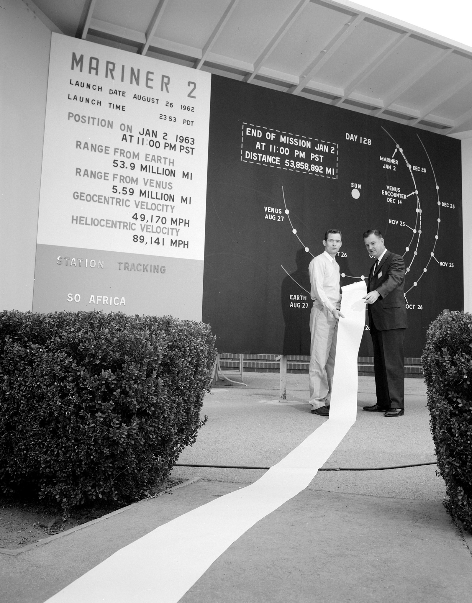 Two men hold up a more than 20-foot-long strip of paper containing Venus science data.