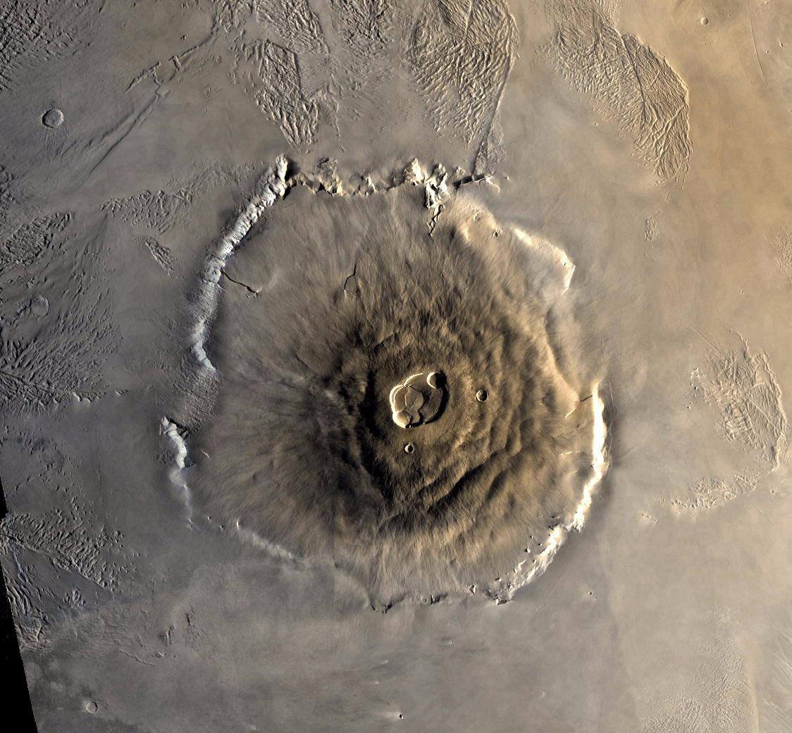 Mars volcano seen from straight above in orbit.