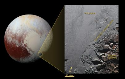 The distinct heart-shaped terrain on Pluto with detail inset showing mountains and smooth plains.