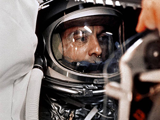Alan Shepard in his Mercury capsule.